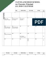 School Calendar - Fall
