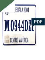 Placa de Automovil Guatemala