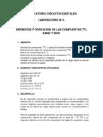 Laboratorio #4 Definición y Operación de Las Compuertas NAND y NOR