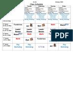 Class Schedule October 2018