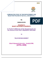 Comparative Study of Recruitment & Selection Policy of BSNL and BHEL