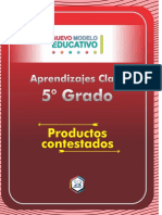 Aprendizajes Clave Productos Contestados 5 Grado