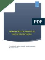 Práctica 2 Analisis de circuitos electricos - Análisis del estado senoidal permanente de circuitos lineales