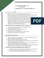 Mathematics Curriculum Written Report _ Group 4