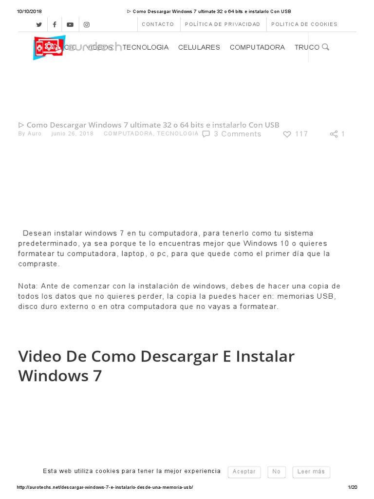 descargar windows 7 ultimate original