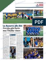 La Provincia Di Cremona 10-10-2018 - Le Azzurre Allo Zini