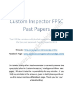 Custom Inspector FPSC Past Papers