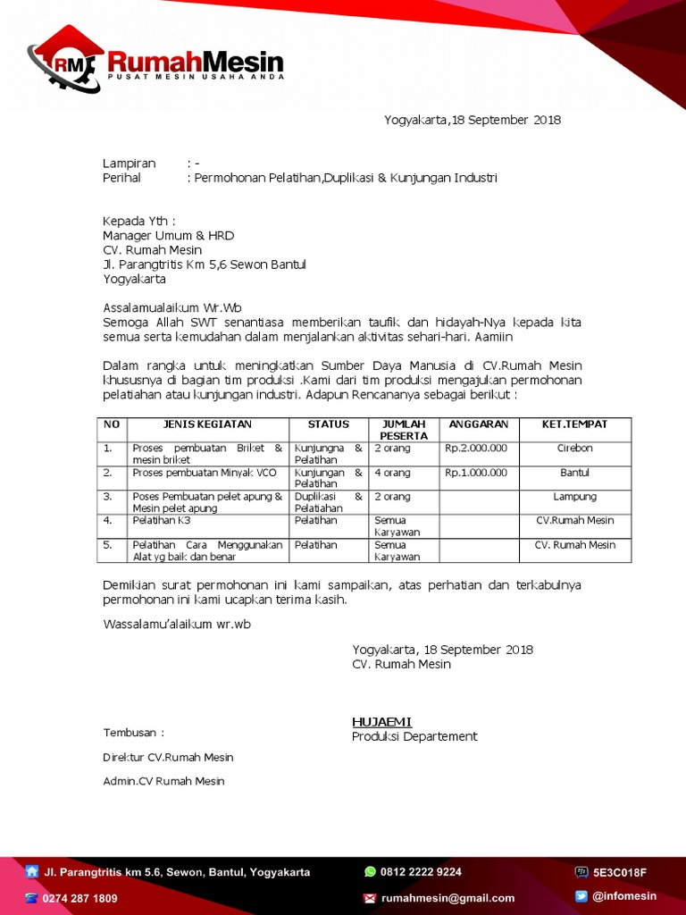 Surat Permohonan Pelatihan Kunjungan Industri