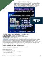 Prediksi Jitu Angka Jakarta Kamis 11 Oktober 2018