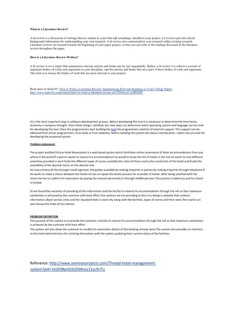 problem statement for hotel management system