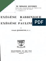 Joseph BONSIRVEN,, Exegese Rabbinique Et Exegese Paulinienne