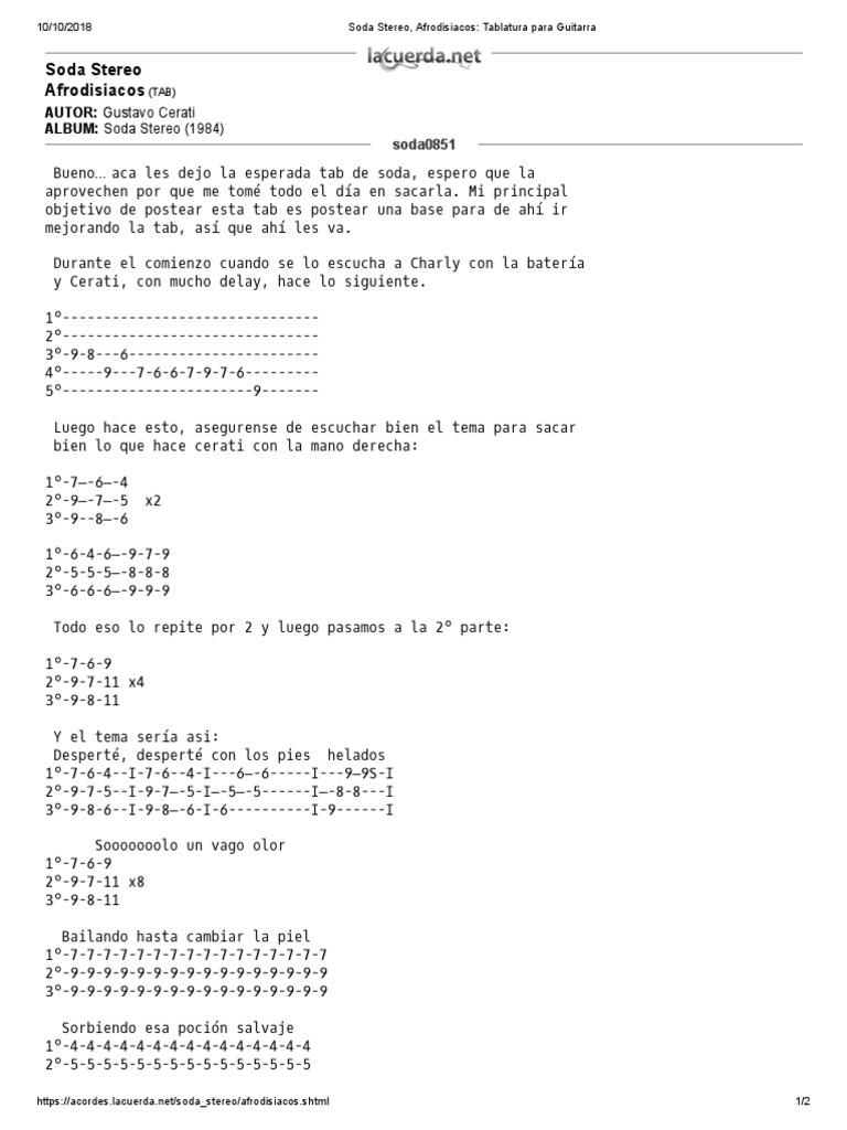 Soda Stereo, Afrodisiacos_ Tablatura Para Guitarra   Industria de ...