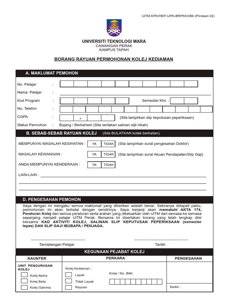 Borang Rayuan Kolej Siri 02 2018 2 Pdf