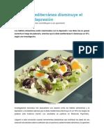La Dieta Mediterránea Disminuye El Riesgo de Depresión