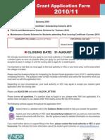 DES Student Grant Application Form 2010 11