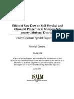 mukiibi edward - Effect of Saw Dust on Soil Physical and Chemical Properties in Ntenjeru Sub County, Mukono District, Uganda