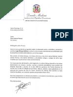 Carta de condolencias del presidente Danilo Medina a Otto Vantroi Perozo por fallecimiento de su madre, Ligia Minaya Belliard