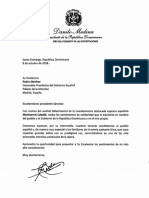 Carta de solidaridad del presidente Danilo Medina a Pedro Sánchez, presidente del Gobierno Español, por fallecimiento de la soprano Montserrat Caballé