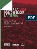 Informe final de la misión internacional Llevada a cabo en Guatemala, agosto de 2018
