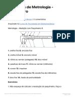 Exercícios de Metrologia - Paquímetro - exercícios sobre paquímetro.pdf