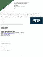 Peter Jackson's Letter