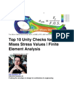 Top 10 Unity Checks for Von Mises Stress Values - Finite Element Analysis