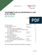 Programme Daide Aux Entreprises Du Livre Et de Ledition 2018 2019