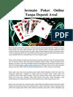 Teknik Bermain Poker Online Uang Asli Tanpa Deposit Awal