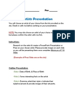 artists presentation worksheet