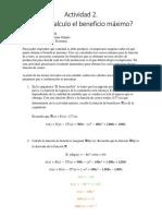 Actividad 2. ¿Cómo calculo el beneficio máximo?