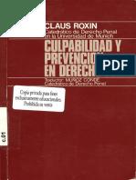 Culpabilidad Y Prevencion en Derecho Penal - Roxin, Claus-
