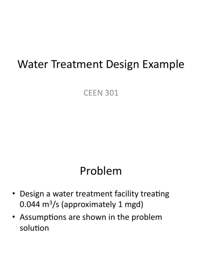 Water Treatment Design Example