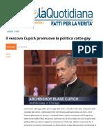 Il Vescovo Cupich Promuove La Politica CattoGay