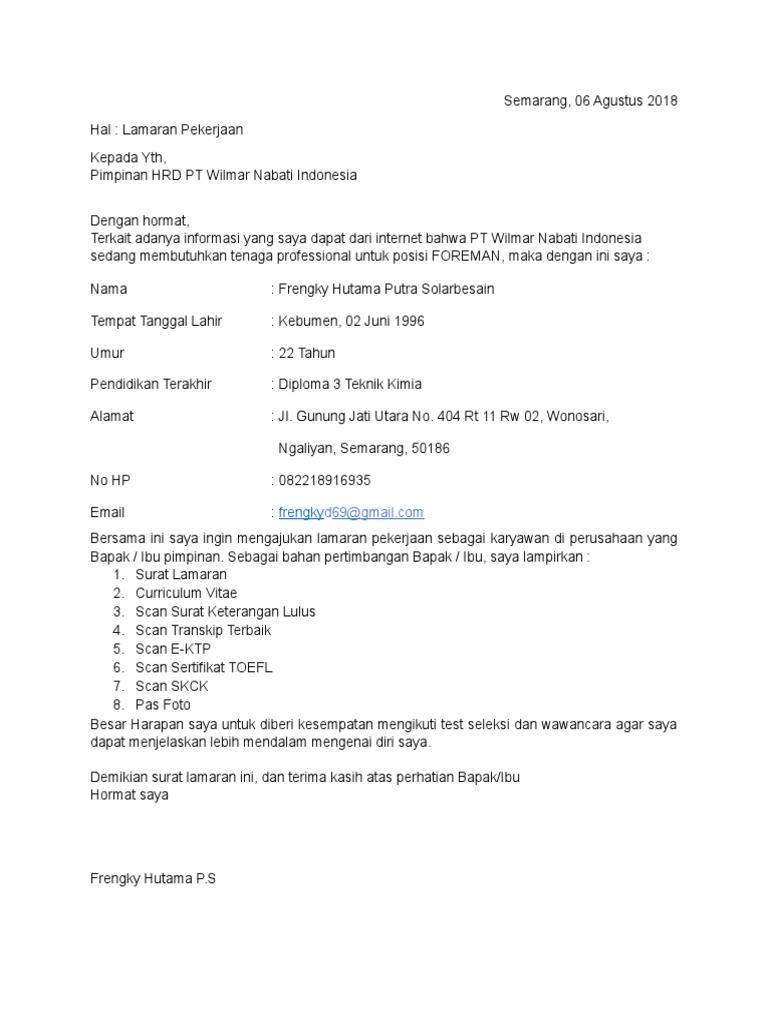 Contoh Surat Lamaran Kerja Pt Nabati Id Lif Co Id