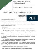 LEI Nº 1.802, De 5 de JANEIRO de 1953 - Publicação Original - Portal Câmara Dos Deputados