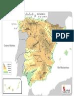 MAPA ESPAÑA - Físico - Color - Con Referencias
