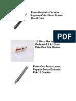 Fresa Grabado Circuito Impreso Cabo 6mm Router Cnc 0