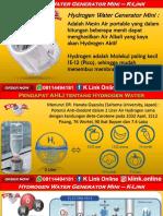 K Link Hydrogen Water Generator H2 Mini Buton WA 08114494181