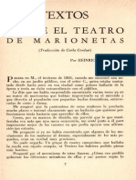 Sobre El Teatro de Marionetas Por Heinrich Von Kleist