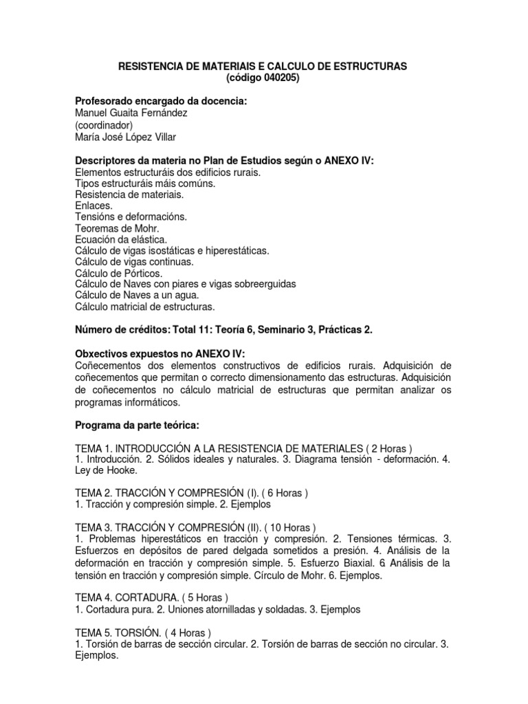 041205 Resist En Cia De Materiais E Calculo De Estructuras