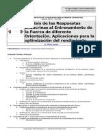 Análisis de las Respuestas Endocrinas al Entrenamiento de la Fuerza de diferente Orientación.