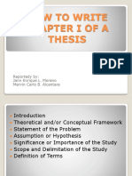 How to Write Chapter i of a Thesis