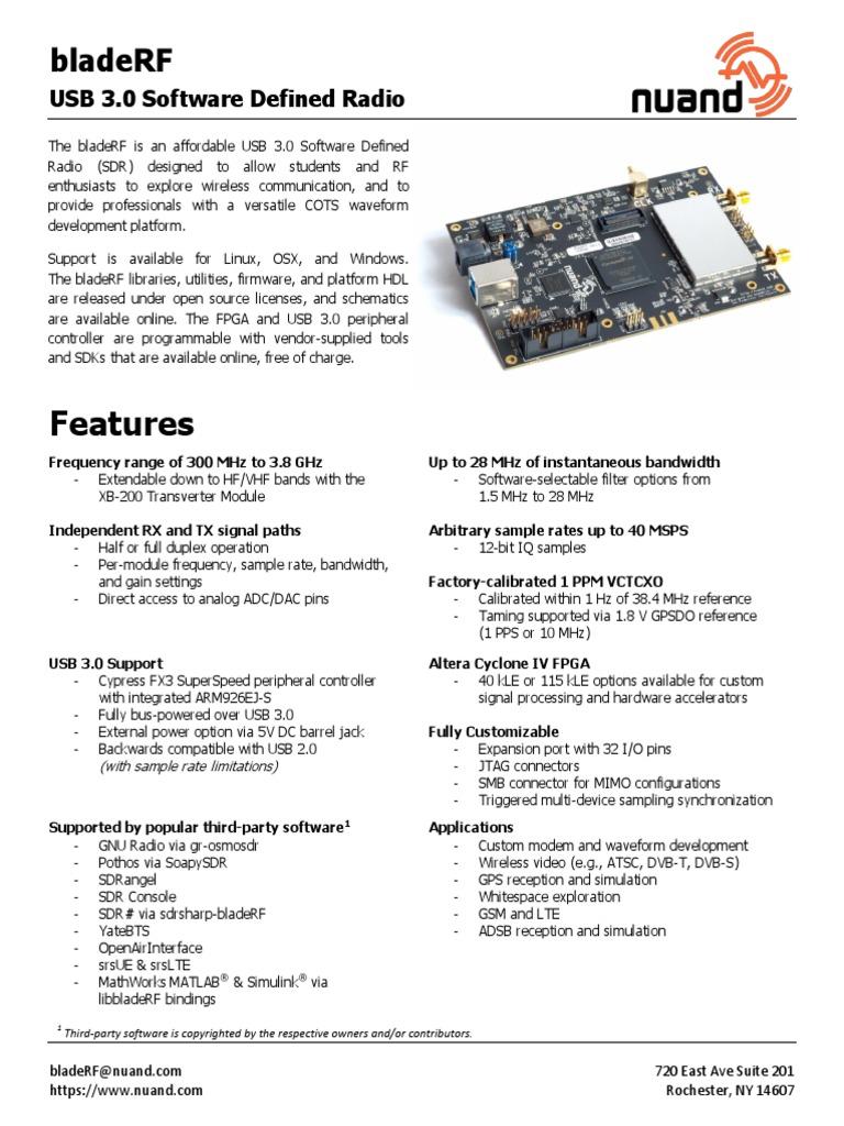 BladeRF Brief | Software Defined Radio | Usb