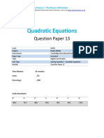 Quadratic Equations - Past paper questions
