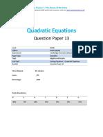 Quadratic Equations - Past paper questions
