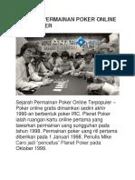 Sejarah Permainan Poker Online Terpopuler