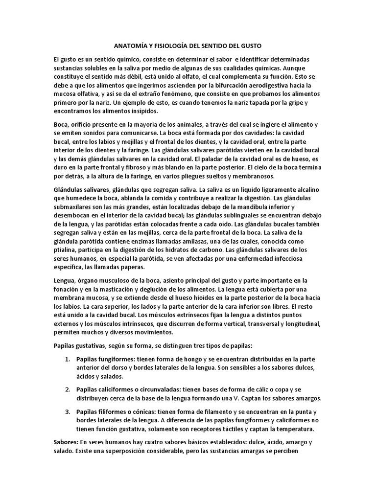 Anatomía y Fisiología Del Sentido Del Gusto