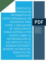 Derecho de autodeterminación de datos personales, en credencial para votar. Autor Víctor Hugo Serrano Morales.