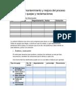 Verificacion, Mantenimiento y Mejora Del Proceso de Quejas y Reclamaciones.