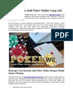 Cara Bermain Judi Poker Online Uang Asli